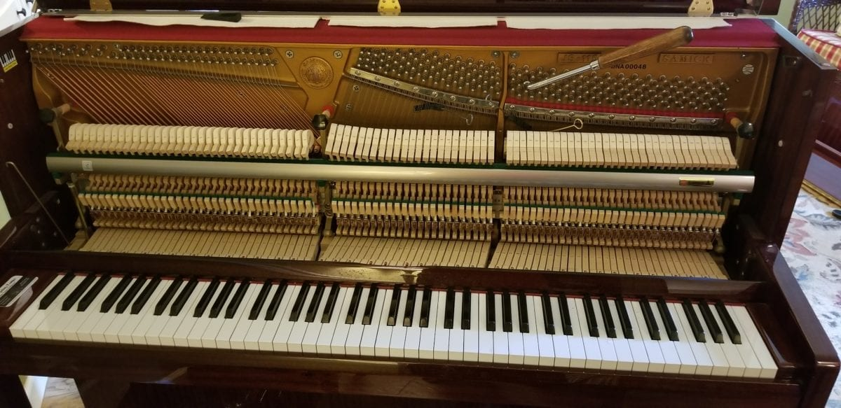 The Samick Studio upright piano has been tuned in Brandon, FL